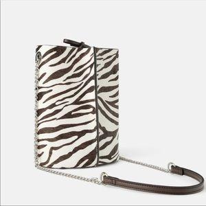 NWT Zara Animal Print Bucket Bag Brown White
